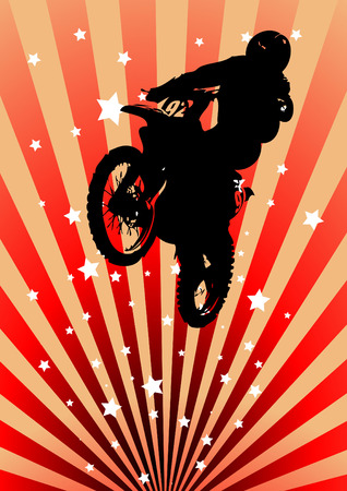 motorcycle rider: Moto cross rider, with spatters. Clip-art