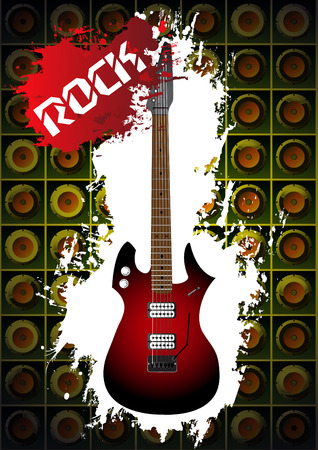 Music background with rock guitar. Clip-art Stock Vector - 9124980