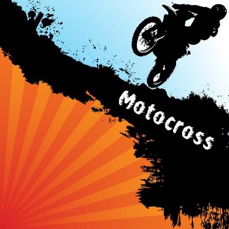 moto da cross: Sullo sfondo di motocross vettoriale. ClipArt Vettoriali