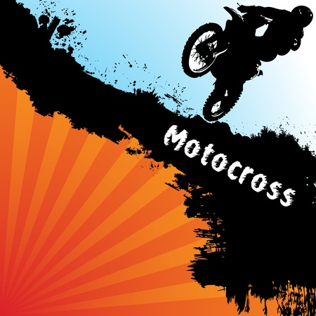 motorcycle accidents: Vector motocross background. Clip-art