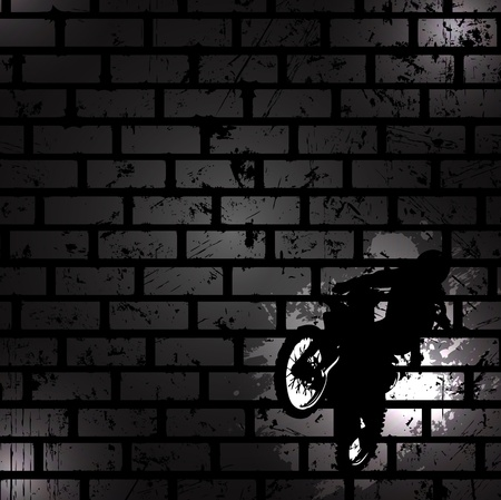 motocross riders: Abstract black background. Clip-art