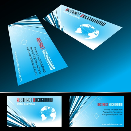 Vector four business card set. Clip-art Vector