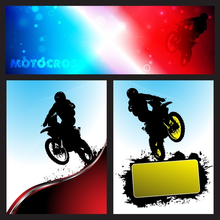 dirt bike: Vector motocross Collection background. Clip-art