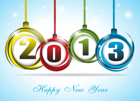 Cute and colorful card on New Year 2013  Clip-art 向量圖像