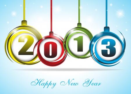 Leuke en kleurrijke kaart op Nieuwjaar 2013 Clip-art Stock Illustratie