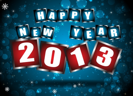 two thousand thirteen: New year 2013 in blue background  Clip-art
