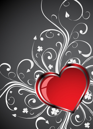 Valentines Day grunge background with Hearts. Clip-art Vector