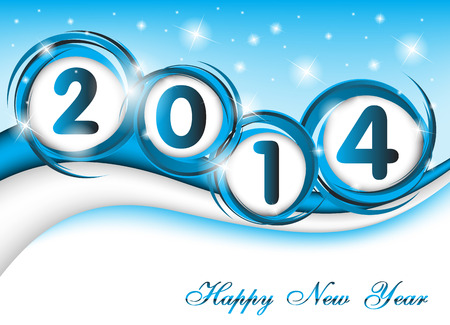 New year 2014 in blue background  Clip-art Vector