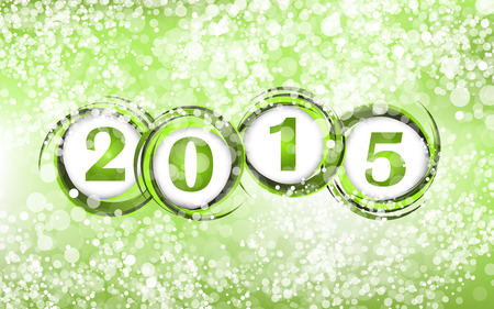 xmass: New year 2015 in green background. Clip-art