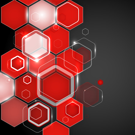Abstract red background hexagon. Vector illustration. Clip-art Vector