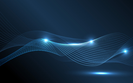 hi tech background: Abstract blue waves - data stream concept. Vector Illustration. Clip-art
