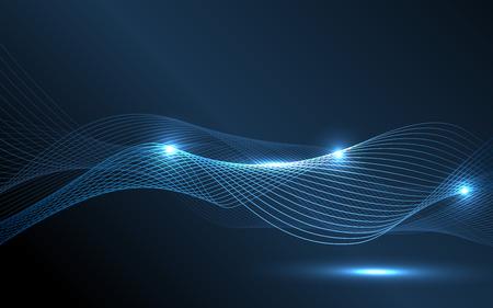 Abstract onde blu - concetto flusso di dati. Illustrazione vettoriale. Clip art