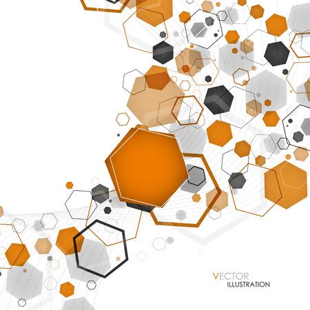 抽象的な幾何学的なオレンジ色の六角形の背景