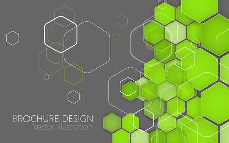 hexagon: Business brochure cover design template. Green Background. Clip-art