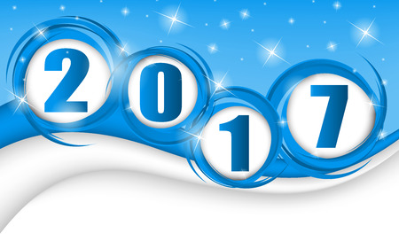 New year 2017 in blue background