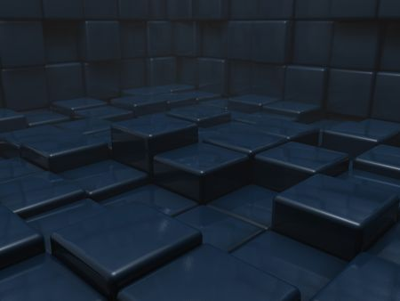 Room of shiny blue cubes