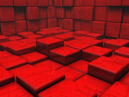 Room of shiny red cubes