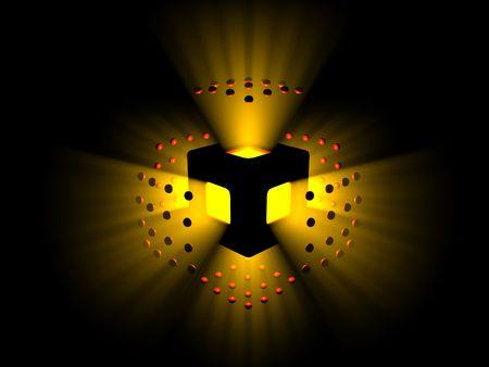 Explodierenden gelben und roten Licht Sph�ren