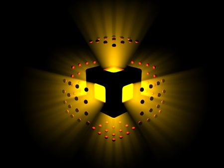 Exploding yellow light and red spheres