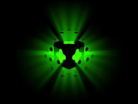 Explodierendes gr�nes Licht und Bereiche