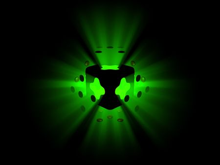 Exploding green light and spheres Stock Photo