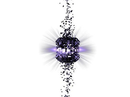 Exploding purple light on white