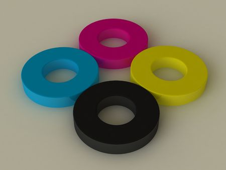 Objekte in den CMYK-Farben