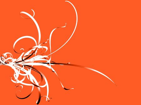 Black And White Flourish auf Orange Lizenzfreie Bilder