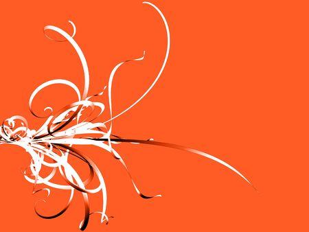 Black and White Flourish on Orange