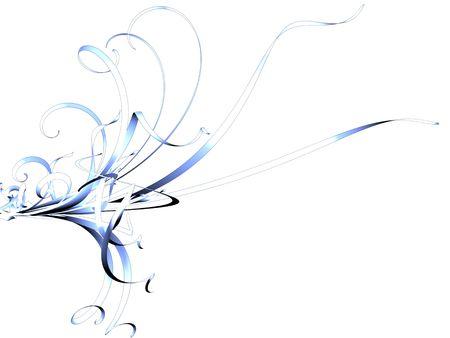 Blue and White Flourish on White photo