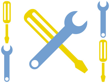 janitorial: Cartoon Stylized Screwdriver and Wrench