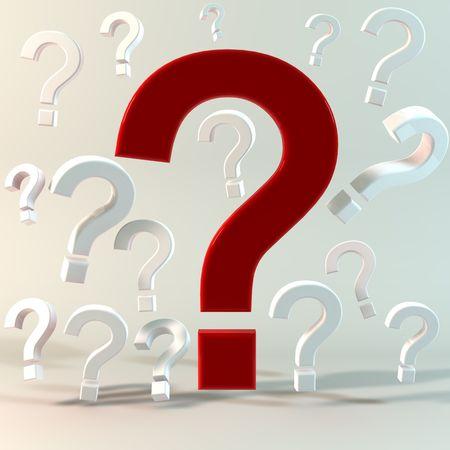 3D illustrazione concettuale di avere molte domande e incertezze