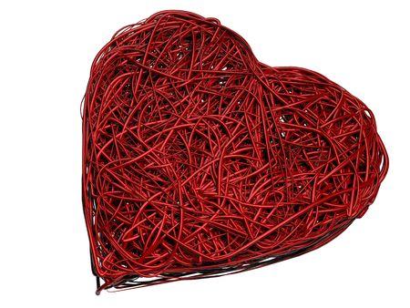Prestados 3D Wire Corazón - Aislado  Foto de archivo - 3528293