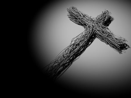 3D Abstract WireThorn Cross Stock Photo