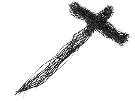 almighty: 3D Abstract WireThorn Cross Isolated on White Stock Photo