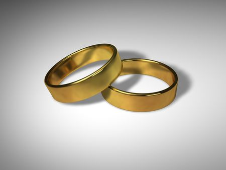 3D Wedding Rings Stock Photo