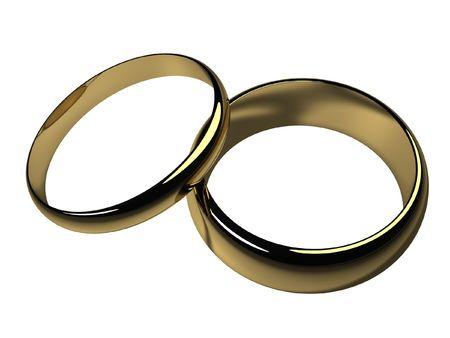 His and Hers Wedding Bands - Isolated Stock Photo