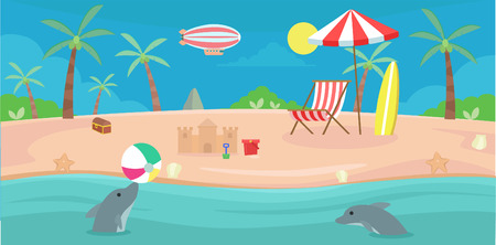 Summer on the beach with chair and umbrella Illustration