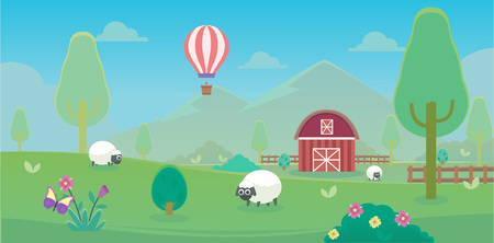Spring on the farms with sheep and farm house and balloon Çizim