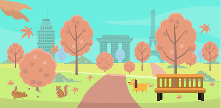 Autumn on the park in colored illustration.
