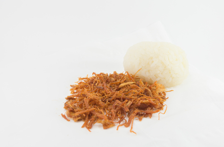shredding: shredded pork with Sticky rice on white background Stock Photo