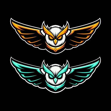 flying nocturnal owl mascot illustration