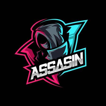 assassin ninja mascot gaming logo vector