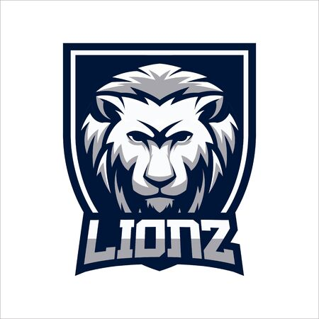 LION SHIELD MASCOT LOGO VECTOR ILLUSTRATION Logo