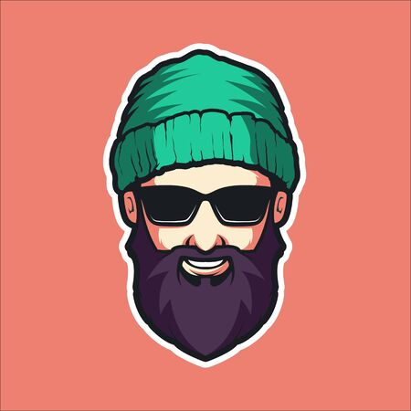 COOL MAN WITH GLASSES VECTOR ILLUSTRATION