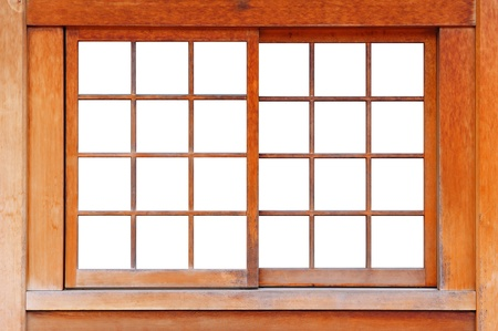 wood window background frame in white Stock Photo