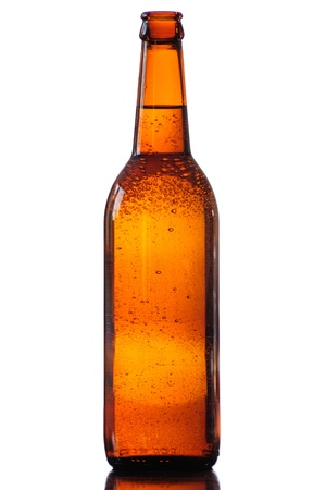 bottle of beer in white background Stock Photo
