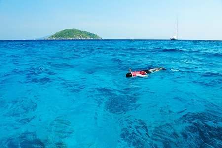 snorkling: a man snorkling around the island in south of Thailand Stock Photo