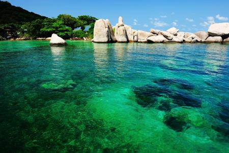 Green seascape island and sky photo