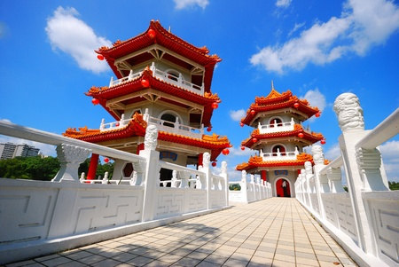 Two tower of Chinese temple in Singapore Stock Photo